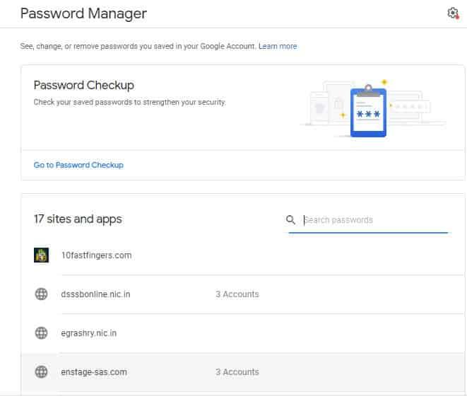 Google Password Manager लिंक पर क्लीक